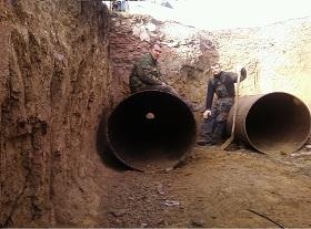 Строительство пары стальных футляров диаметром 1020 мм длиной 2х35 метров. Грунт плотная глина (белозерка). Запорожская обл.